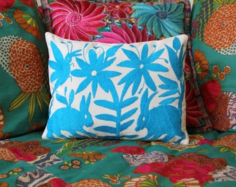 Turquoise Pillow Sham-Otomi Embroidery Ready to ship.