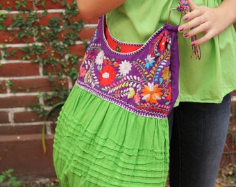 Purple and lime green hand  Embroidered Huipil Boho Travel tote