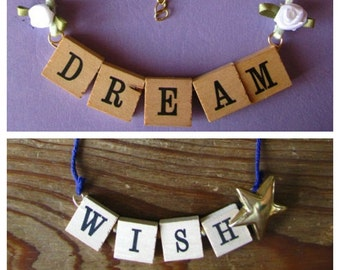 DREAM or WISH Upon a Star Anagram Necklace