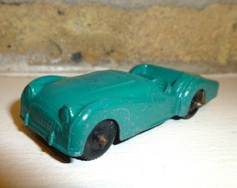 Vintage Tootsie Toy Triumph TR3 Sports Car Model Toy. Die Cast. 1960s. Blue-Green Colorl