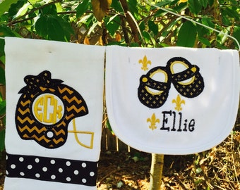 Football saints bib & burpcloth set