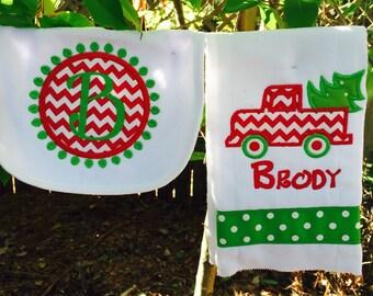 Christmas bib & burpcloth set