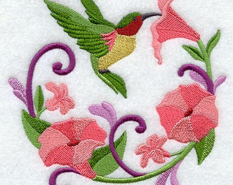 Hummingbird Wreath White Cotton Kitchen Tea Towel