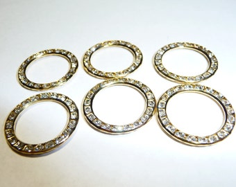 6 Vintage Swarovski Crystal 22 mm Circle Connectors on Etsy by APURPLEPALM