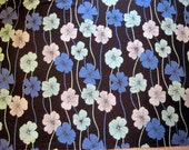 Upcycled fabric, cotton fabric, large floral print, pansy, pansies, blue flowers, remnant, floral print, black and blue flowers,