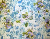 Upcycled fabric, periwinkle blue, violet purple, floral pattern, lightweight material, cotton, fabric remnant, exotic flowers, blue, green