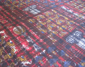 Vintage fabric, grecian, aztec, red and blue checks, checkered, retro fabric, pictorial fabric, iconic columns, gold and red, sewing, quilt