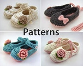 Crochet Pattern - baby booties, flowers, and bows, baby crochet patterns