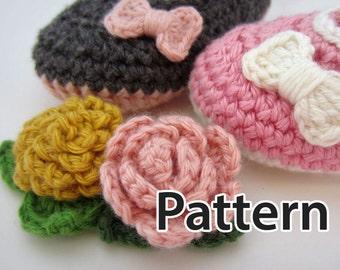 Crochet Pattern - crochet flowers and roses, crochet bows, crochet leaves