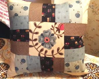 "12"" Quilt Square Piece Pillow Cover Farmhouse Cottage Country"