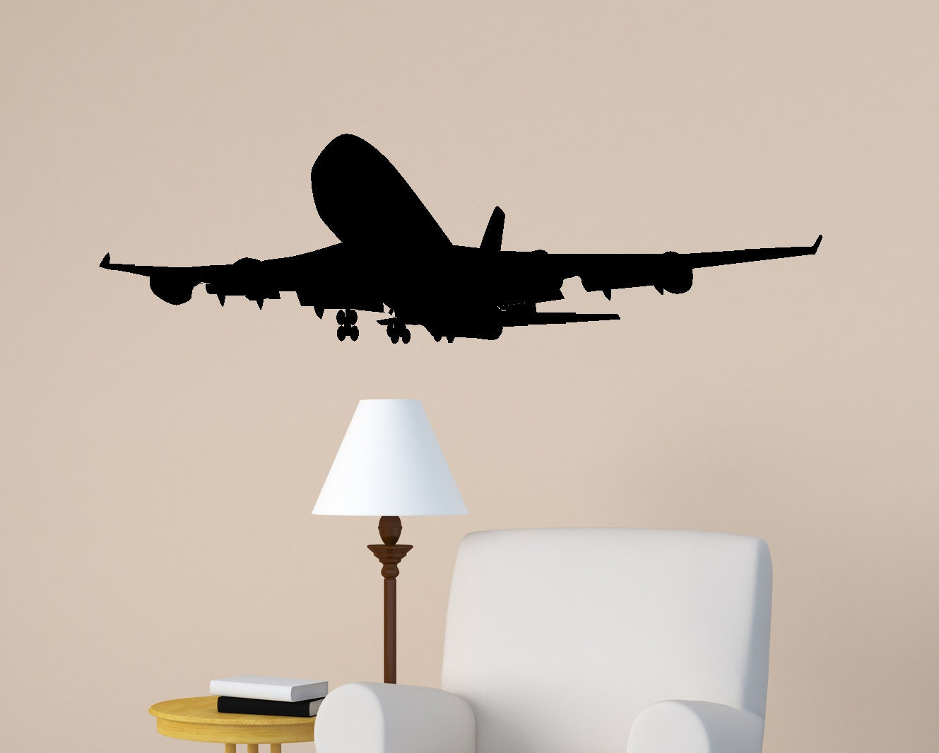 Aircraft wall decal jet airliner sticker aviation room decor for Airplane wall mural