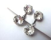 Vintage Rhinestone Dangle Earrings Wedding Jewelry Formal Earrings Screw back Earrings