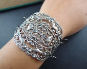 1 PC Grand Oval Filigree Oxidized Silver brass Three Inches Tall bracelet supply--93