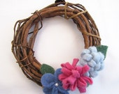 Grapevine Wreath with Wool Flowers, Blue and Pink Flowers
