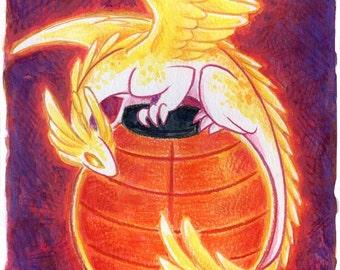 30 Days of Dragons - Lantern Dragon- Original Mixed Media Painting