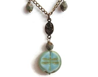 Dragonfly Necklace. Dragonfly Jewelry. Czech Glass Dragonfly Necklace. Dragonfly. Brass. Chain