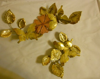 Metal Butterfly leaves Wall Decor Home Interiors Metal set of 2