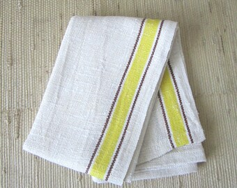 Vintage 1950s YELLOW & BROWN Striped Heavy Weight Linen Tea Towels | two available - sold individually