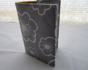 Passport Cover - Gray Grey with Flowers