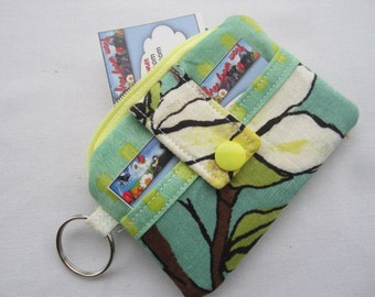 Zipper Wallet Pouch Key Chain Flower Lime Green Card holder -