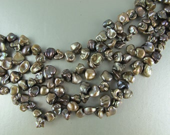 Half Strand Mini Keishi Freshwater Pearls, Graduated Sizes 5mm to 7mm, Up to 4mm Thick Nuggets, TAUPE, 36 Pearls (P066)