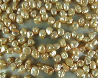 Half Strand Mini Keishi Freshwater Pearls, Graduated Sizes 5mm to 7mm, Up to 4mm Thick Nuggets, CHAMPAGNE, 36 Pearls (P066)