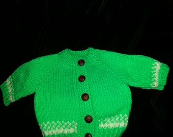 Bitty Baby 16in doll clothes lime green doll sweater set skull cap and button down  front  sweater