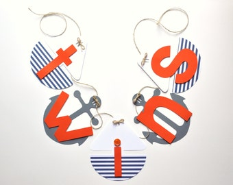 NEW Larger Size Nautical baby shower decorations orange white and blue Twins banner by ParkersPrints on Etsy