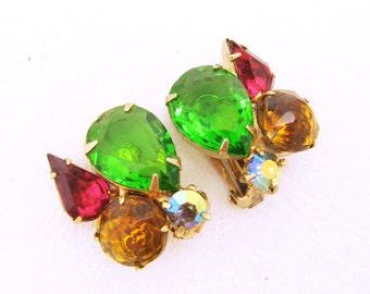 Vintage Rhinestone Earrings Colorful Jewelry