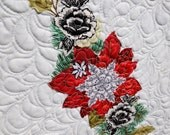MarveLes CHRISTMAS Poinsettia Black White Silver Gold Floral Collage Table Runner Feathered Quilting