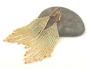 Beaded Fringe Earrings . Seed Bead Jewelry . Gold Tipped Fringe . Boho Jewelry . Pale Sage Green and Gold Seed Beads