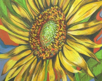 Sunflower Pencil Drawing . Color Pencil Art . Flower Art . Original Pencil Drawing
