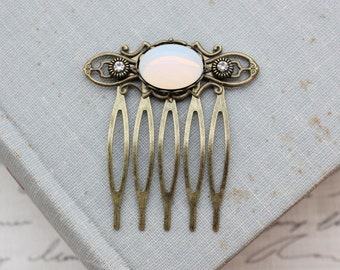 White Opal Small Hair Comb in Antique Brass. Bridal.