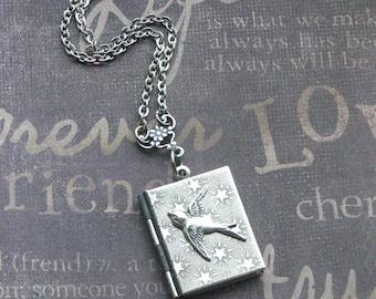 Book Locket, Bird Sparrow, Silver Locket, Locket Necklace, Bird Jewelry, Picture Locket, Mommy Jewelry, Enchanted Night Flight Necklace Gift