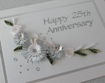 Quilled 25th silver wedding anniversary card, handmade, paper quilling
