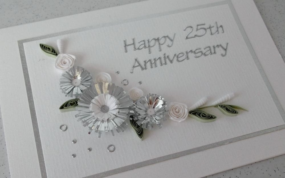 Silver 25th Wedding Anniversary: Quilled 25th Silver Wedding Anniversary Card Handmade Paper