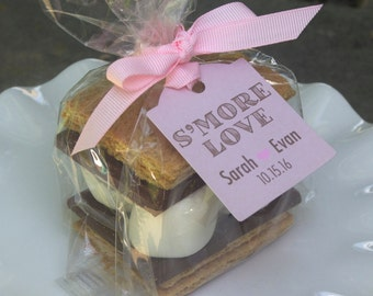 12 Custom Favor Bags - Personalized Tags - Wedding Favors - S'mores Favors - S'more Love - Fall Wedding Favor  Tags