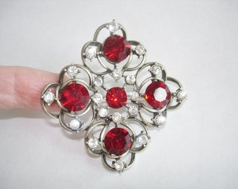 Clear Red  Rhinestone Brooch Silver Tone Vintage Jewelry