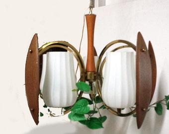 Mid Century Teak Light, Dining Room Chandelier, Ceiling Light