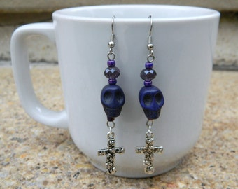 Purple Day of the Dead Baron Samedi/ Ghede Inspired Skull Dangle Fashion Earrings