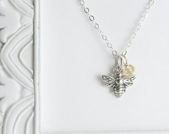 Silver Bee Necklace - Sterling Silver Personalized Initial Birthstone Necklace - Sterling Silver Bee Jewelry - Custom Initial Necklace