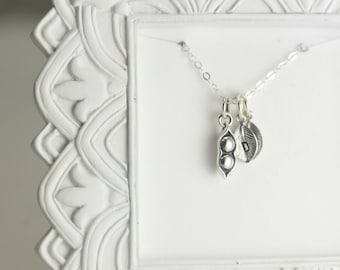 Silver Pea Pod Necklace - Peapod Necklace - Sterling Silver Necklace - Custom Initials Necklace - Two Peas in a Pod Necklace - Mom Neckalce
