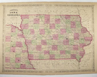 1867 Vintage Map of Iowa, East Nebraska Map, Johnson Map, Unique Office Gift for Coworker, 1st Anniversary Gift for Couple, Antique Iowa Map