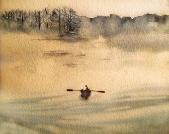Watercolor painting, ART, My Maine On A Foggy Day, original print, watercolor art, rowboat at sea,