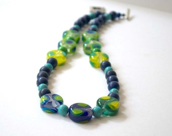 Blue Green Necklace, Lampwork Glass Necklace, Beaded Necklace, Mod Necklace, Stone Bead Necklace, Polka Dot Necklace