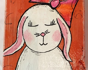 "Original Wood Block Art Painting - Painting Home Decor Artwork - Whimsical Art ""Sweet White Bunny"""