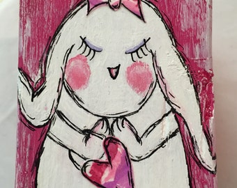 "Original Wood Block Art Painting - Painting Home Decor Artwork - Whimsical Art ""Sweetheart Bunny"""