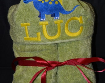 Hooded Towel - Personalized  Name - Dino - Child size