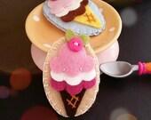 Ice Cream Cone Felt Snap Hair Clip, Felt Hair Clip, Ice Cream Snap Clip,  Medium Size - Pink Camel