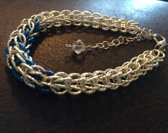 Chain Maille Bracelet , silver twist and blue rings